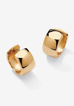 Yellow Gold over Sterling Silver Huggie Hoop Earrings,