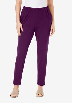 Ankle-Length Soft Knit Pant, DARK BERRY