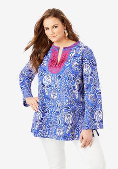 Flared-Sleeve Tunic with Embellishments,