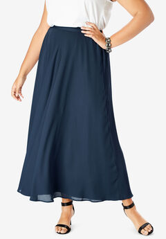 Georgette Maxi Skirt, NAVY
