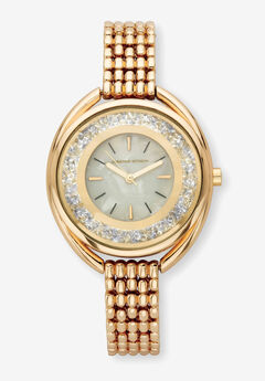 "Goldtone Adrienne Vittadini Crystal Fashion Bracelet Watch, 7"","