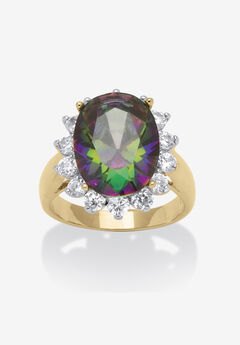 Gold-Plated Cubic Zirconia Cocktail Ring,