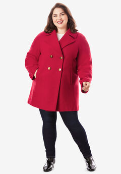 Modern A-Line Peacoat, CLASSIC RED