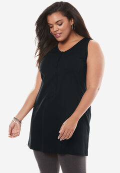 Button-Front Henley Ultimate Tunic Tank, TRUE BLACK