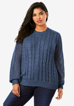 Metallic Cable-Knit Sweater, NAVY