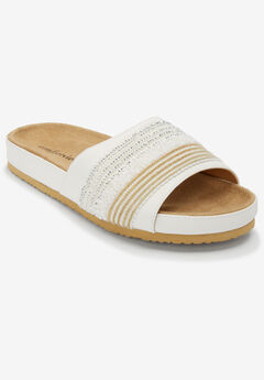 The Baylor Footbed Sandal by Comfortview®, WHITE