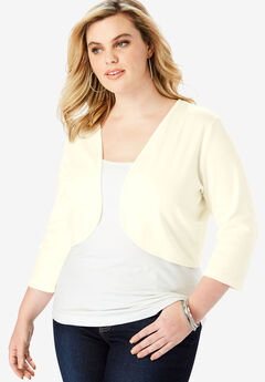 Bolero Cardigan with Three-Quarter Sleeves, IVORY