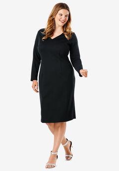 Ultimate Ponte Sheath Dress, BLACK