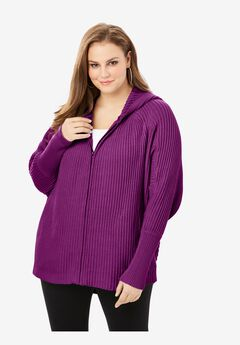 Hoodie Cardigan with Dolman Sleeves, PURPLE MAGENTA