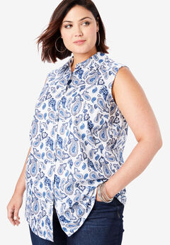 Sleeveless Kate Shirt, NAVY WATERCOLOR PAISLEY