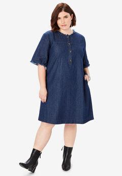 Denim Shirt Dress, INDIGO WASH
