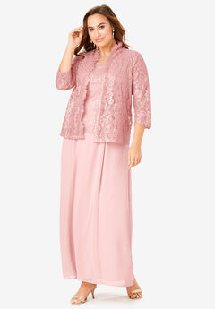 Lace & Chiffon Jacket Dress Set,