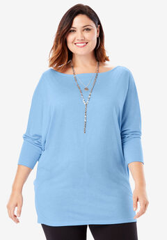 Wide Boatneck Top with Dolman Sleeves, BLUE MIST