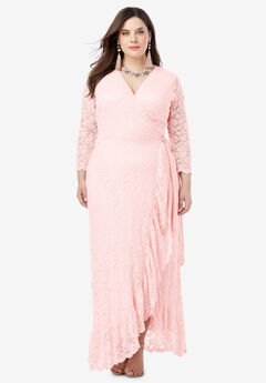 Lace Wrap Dress with Ruffle Hem, PALE BLUSH