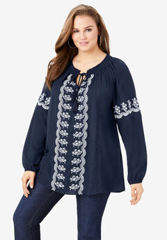 Embroidered Peasant Top,