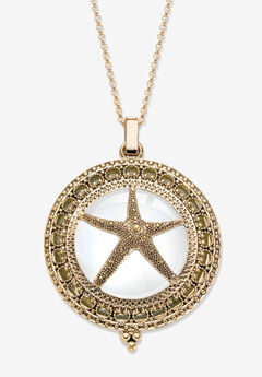 "Goldtone Antiqued Starfish Magnifier Pendant with 32"" Chain,"