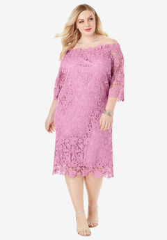 Off-The-Shoulder Lace Dress with Bell Sleeves, MAUVE ORCHID