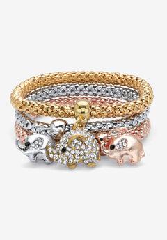 "Gold Tone Crystal Elephant 8.5"" Charm Stretch Bracelet Set,"