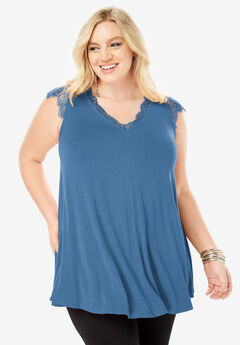 Lace-Trim Tank with Eyelash Detail, DUSTY INDIGO