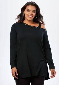 Fleece One-Shoulder Tunic, BLACK