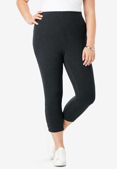 Essential Stretch Capri Legging, HEATHER CHARCOAL