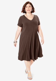 Swing Drape Dress, RICH BROWN