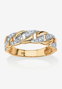 Gold & Sterling Silver Link Ring with Diamonds,