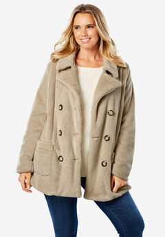 Double Breasted Peacoat, SANDY BEIGE