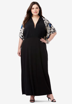 Flutter-Sleeve Maxi Dress, BLACK GRAPHIC FLORAL