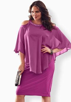 Cold-Shoulder Popover Dress, RICH MAGENTA