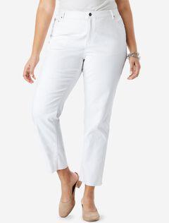 Crop Straight-Leg Jean by Denim 24/7®, WHITE