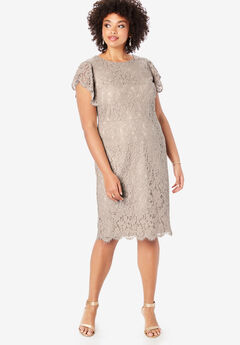 Lace Sheath Dress with Flutter Sleeves, OYSTER PEARL