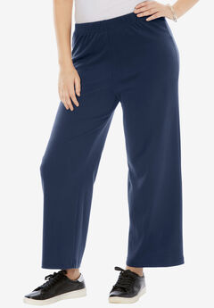 Wide-Leg Soft Knit Pant, NAVY