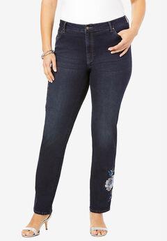 Floral Design Straight-Leg Jean by Denim 24/7®, BLUE SEQUIN FLOWER