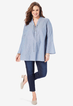Lace-Up Chambray Tunic, MEDIUM STONEWASH