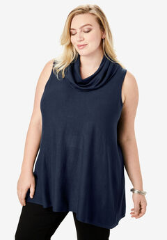 Fine Gauge Sleeveless Sweater with Cowl Neck, NAVY