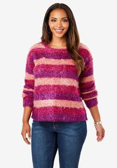 Metallic Eyelash Sweater, STRIPE