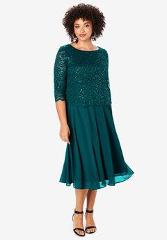 Embellished Lace & Chiffon Dress, DARK HUNTER