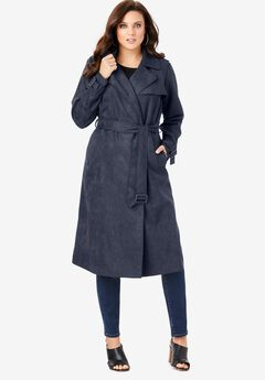 Soft Draped Trench, NAVY