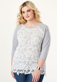 Lace Overlay Sweatshirt, HEATHER GREY