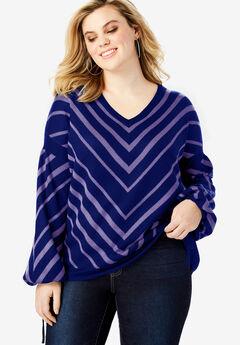 Fine-Gauge Chevron Sweater with Tie-Sleeve, NAVY PURPLE CHEVRON