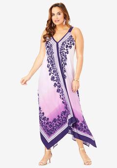 Scarf-Print Maxi Dress, PURPLE OMBRE SCARF