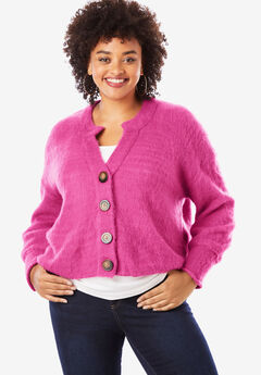 Cropped Button Cardigan, TROPICAL RASPBERRY