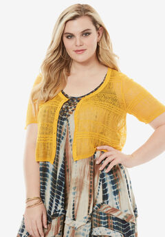 Cropped Pointelle Cardigan, BRIGHT GOLD