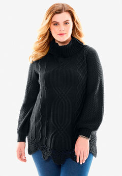 Cable Sweater by Denim 24/7®, BLACK