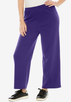 Wide-Leg Soft Knit Pant, MIDNIGHT VIOLET