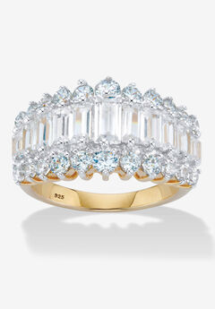 18K Gold & Sterling Silver Cubic Zirconia Ring,