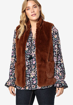 Faux Fur Vest Castaluna , BROWN
