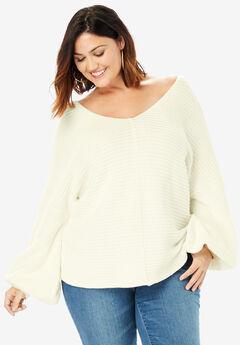 Balloon-Sleeve Sweater, IVORY