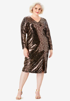 V-Neck Sequin Dress, ANIMAL PRINT